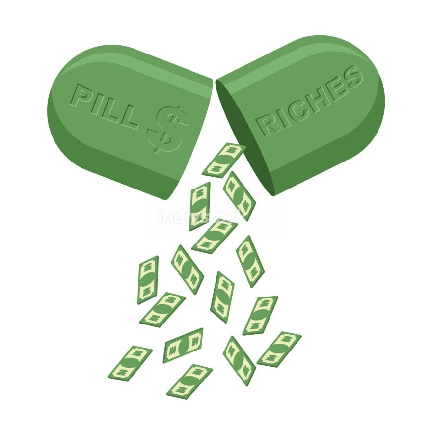 Pill for  rich. Medicine for wealth. In  tablet a lot of money,
