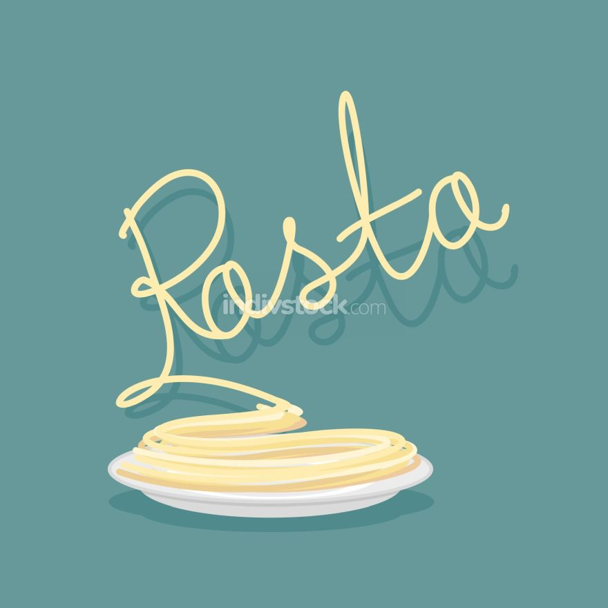 Plate of pasta. A dish of Spaghetti. Vector illustration.