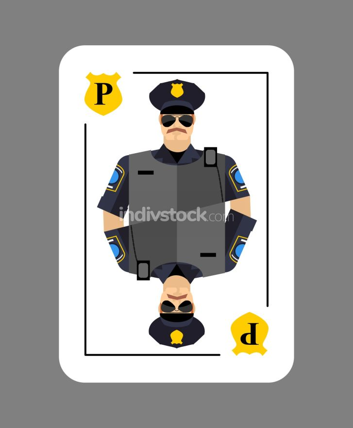 Playing card policeman. Conceptual new card  police officer. Arr