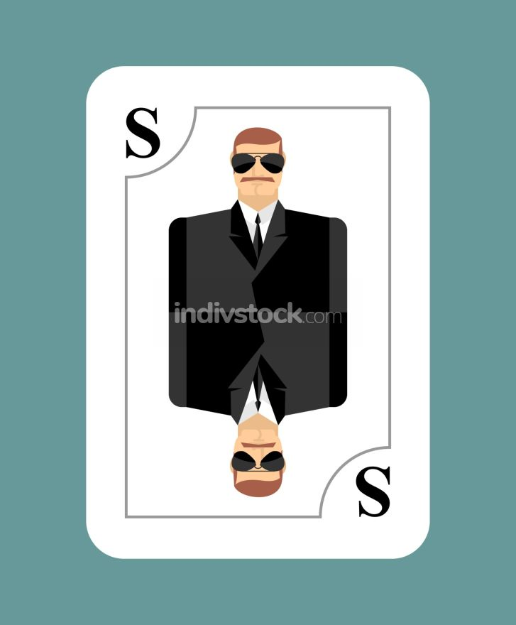 Playing card secret agent, Scout, spy. Conceptual new card peopl