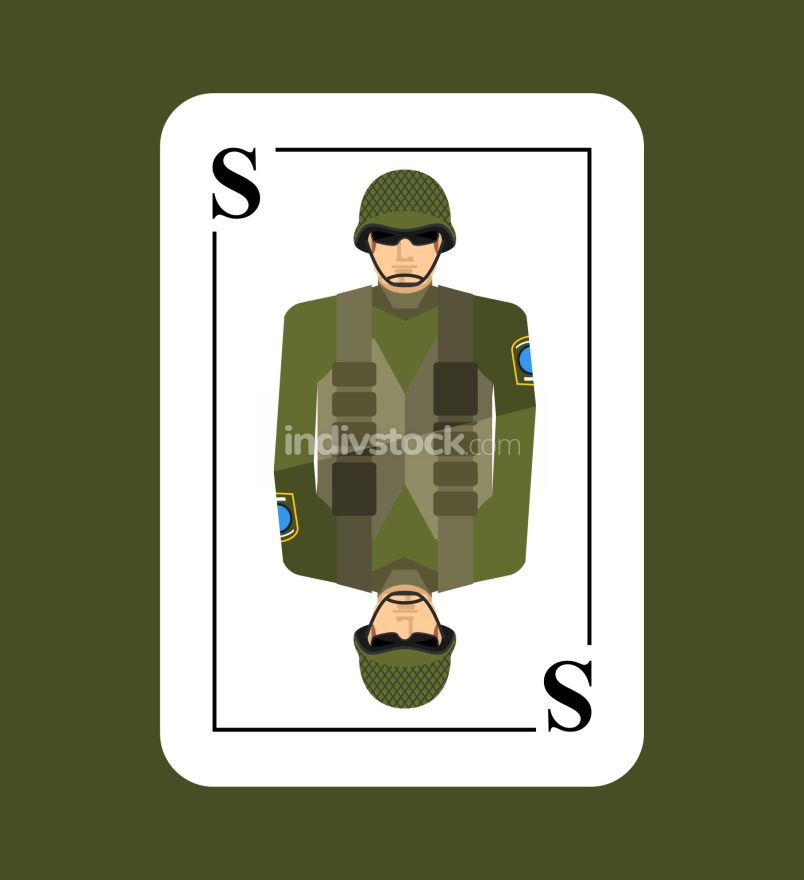Playing card soldiers. Conceptual new card military man. Takes i