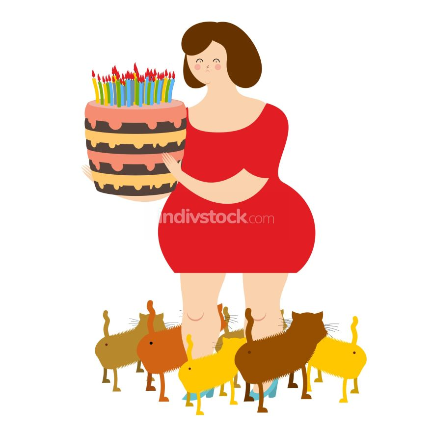 Sad woman of forty and birthday cake. Fat  lonely Lady. Only cat