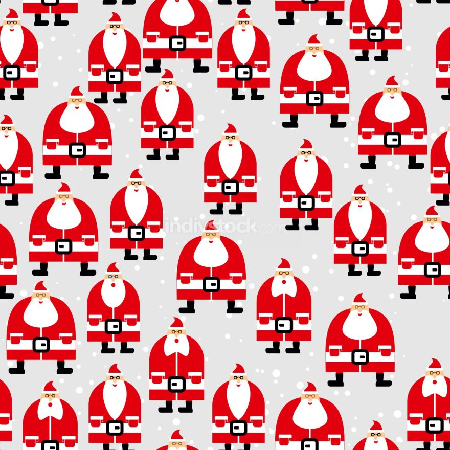 Santa Claus seamless pattern. Christmas background. Ornament of