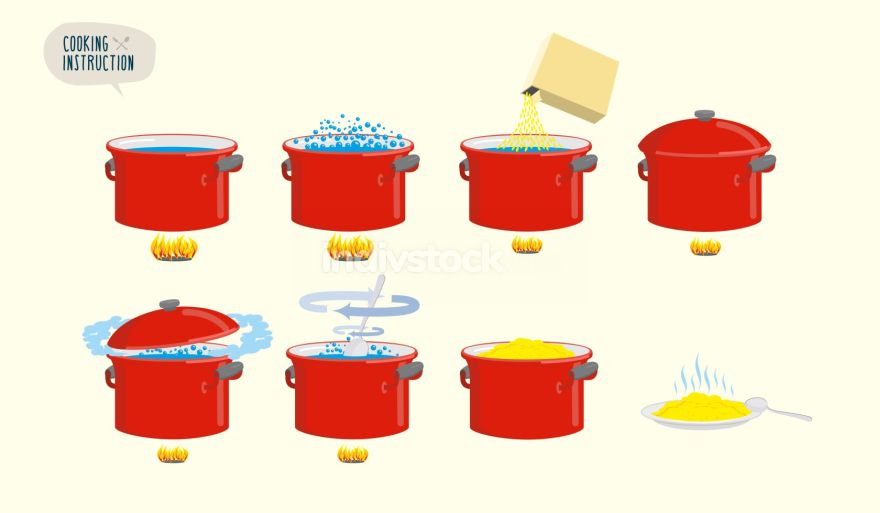 Set  icons for instruction. Infographics Cooking porridge.