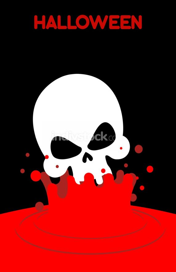 Skull falls into blood. Splashes of red blood. Vector illustrati