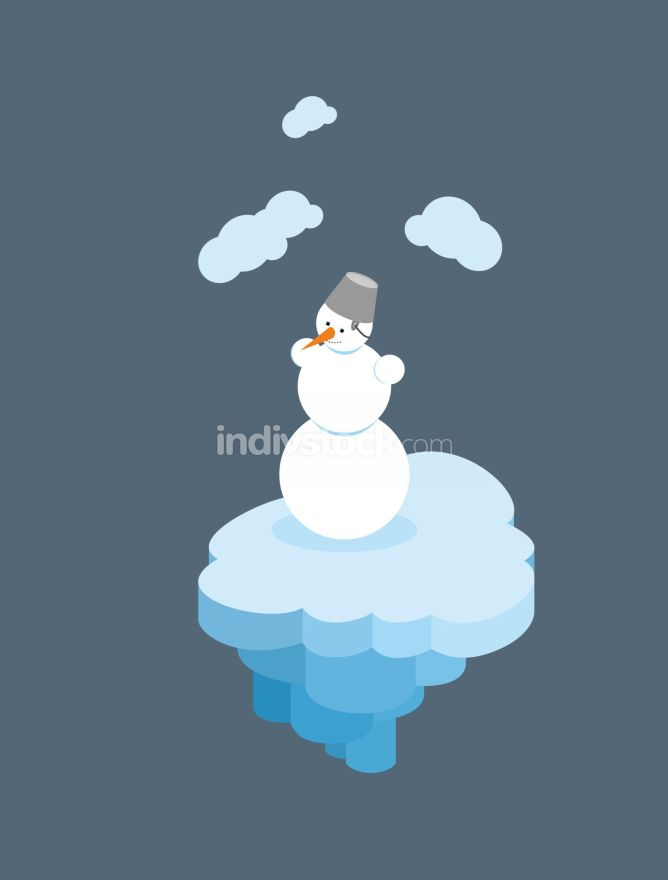 Snowman on  floating island. Christmas character on  piece of  i