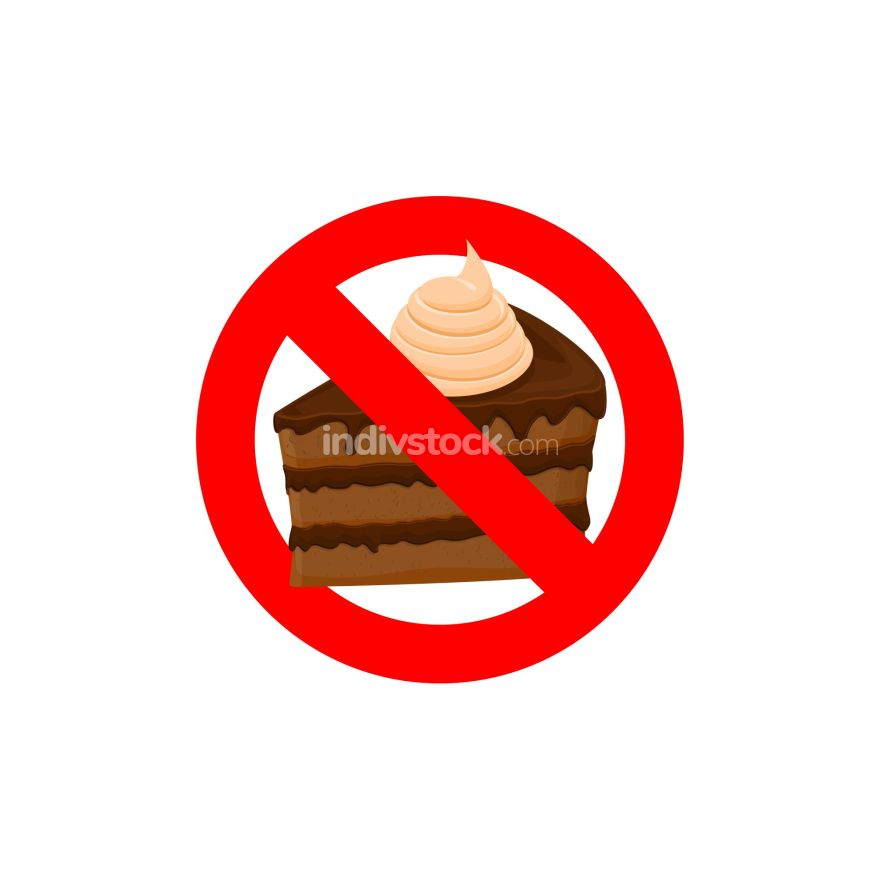 Stop sweets. Forbidden cake. Red forbidding character. Logo for