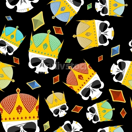 Street Kings. Gold Crown skull seamless pattern. Vector backgrou