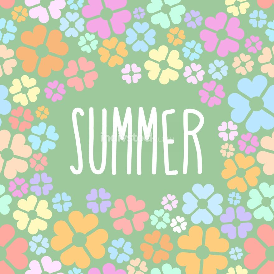 Summer flowers. Vector background for flyers.
