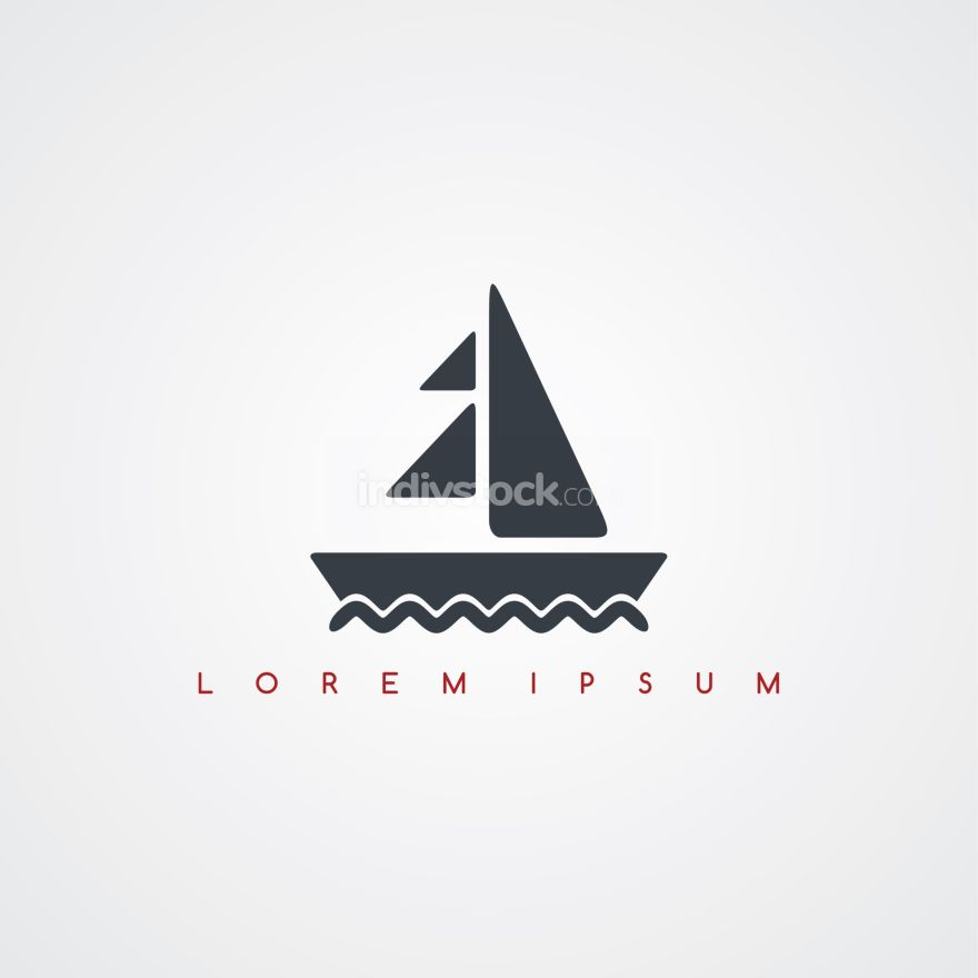 summer sail boat icon sign logotype