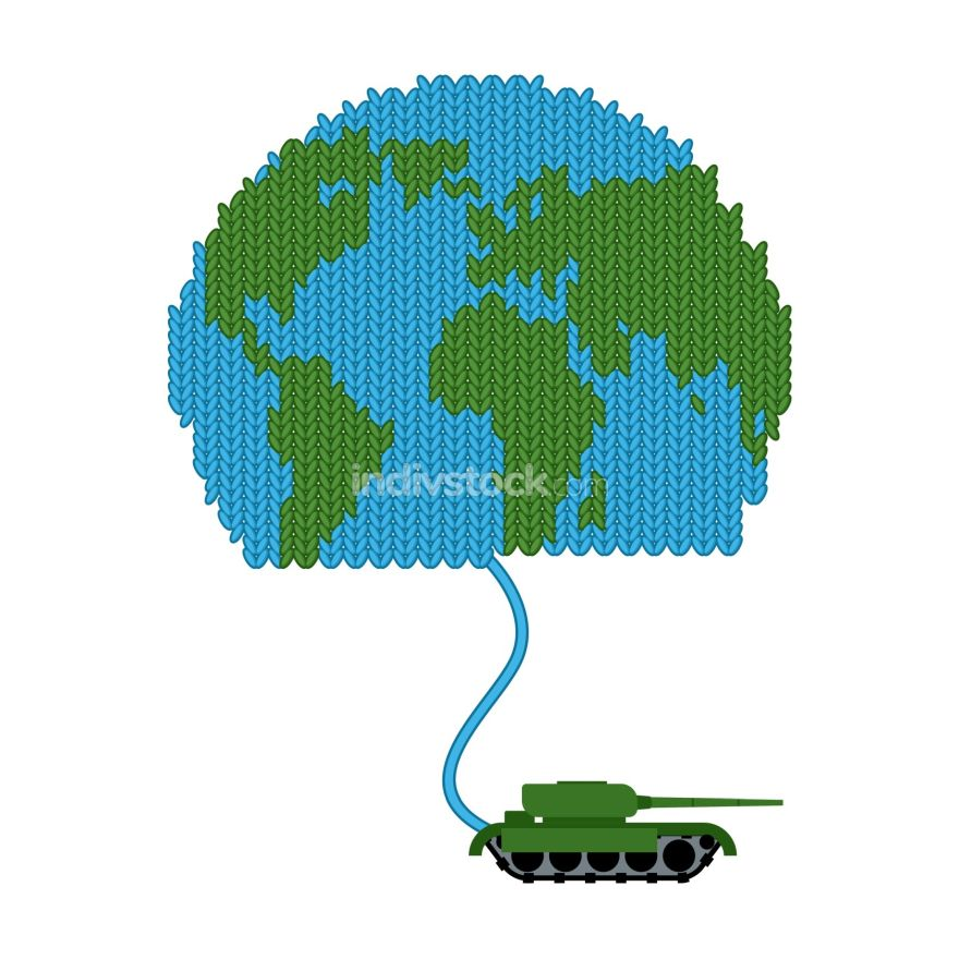 Tank dissolves knitted world. To wage war. Start of hostilities.