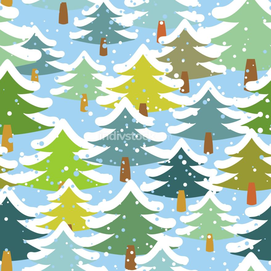 Tree in snow seamless pattern. Snowstorm in forest. Snow on tree