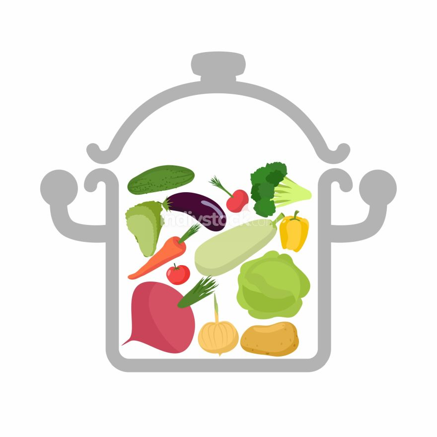 Vegetables in a saucepan. Logo for  vegetarian menu. Useful and