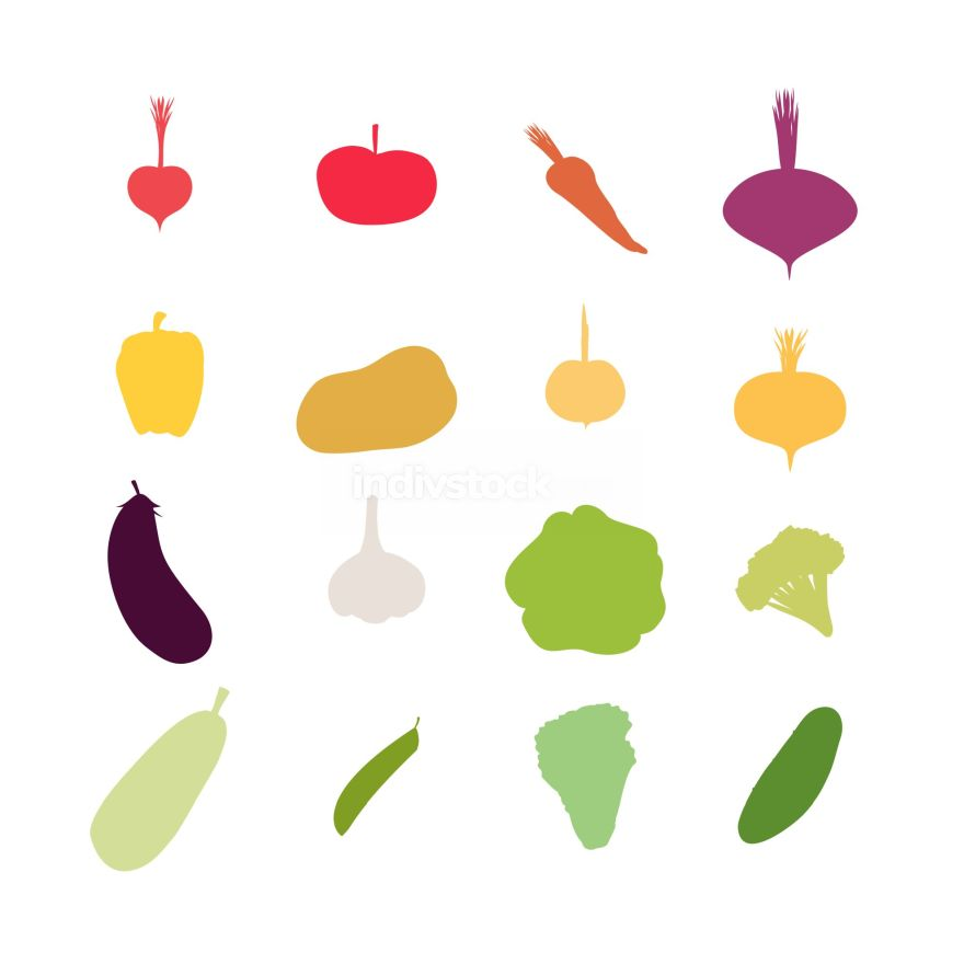 Vegetables silhouette icons Set. Vector illustration. Carrots an