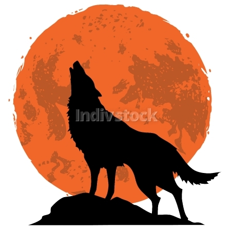 Wolf Howling at the Moon in the Midnight Vector Illustration
