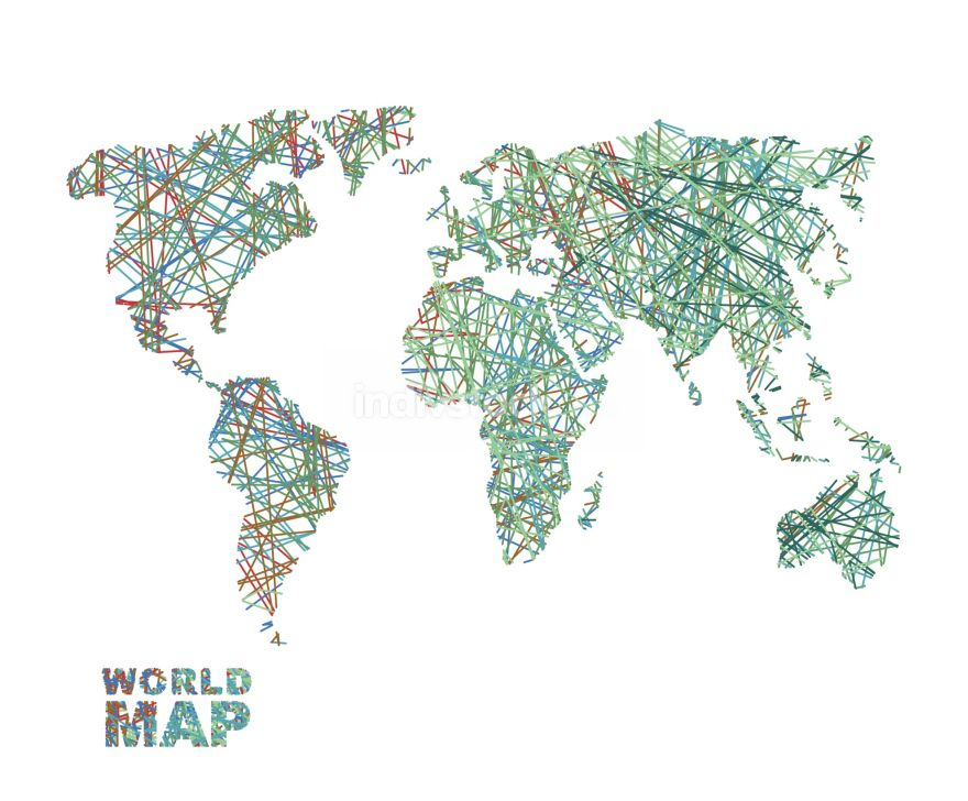 World map colored lines. Global Internet networkconnects  matter