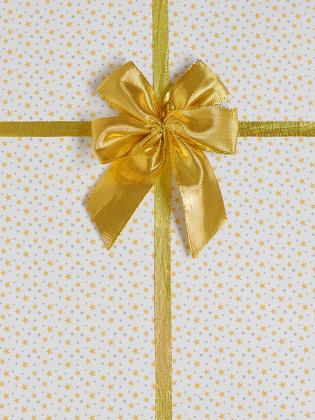 gift bow with golden satin ribbon