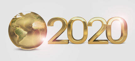 2020 global world earth golden 3d render. Elements of this image furnished by NASA.