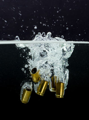 9mm cases with splashing water