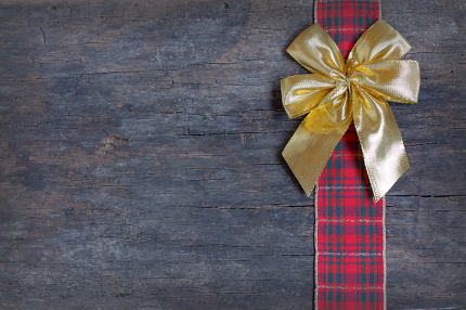 Christmas  ribbon and golden gift bow