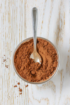 cocoa powder with spoon