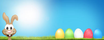 easter bunny and easter eggs background 3d render