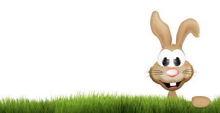 easter bunny green grass. happy easter 3d render