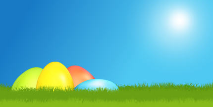 easter eggs and green meadow flat green 3d render