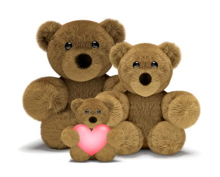 free download: cute teddy bear family with mum, dad and child 3d render