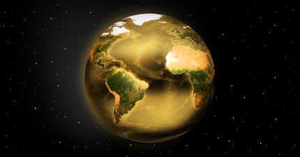 golden planet earth. Elements of this image furnished by NASA.