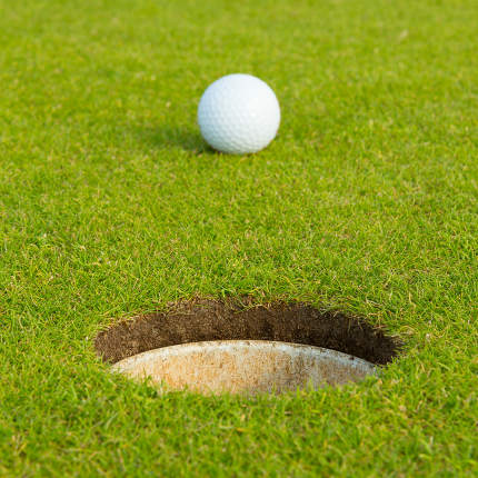 Golf ball in front of the hole, focus on the hole