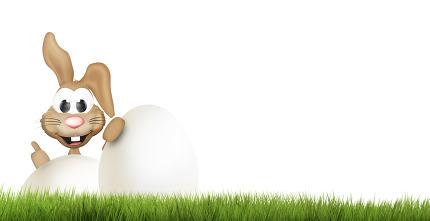happy easter bunny. big easter eggs 3d render