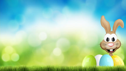 hidden happy easter bunny and easter eggs 3d render
