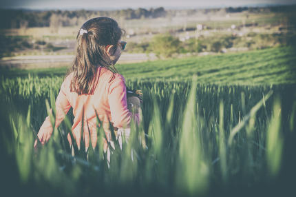Little girl and her doll walking through green cereal field at s