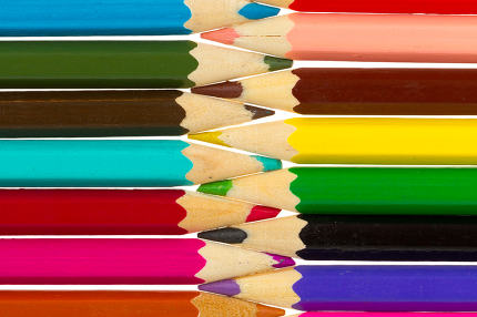 Many different color pencils