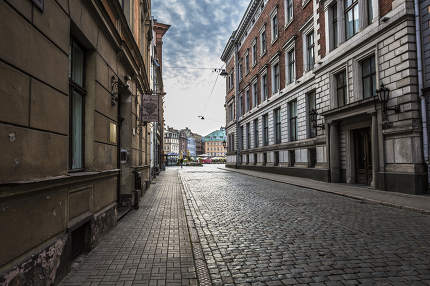 Morning street in medieval town of old Riga city, Latvia.
