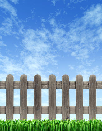 Picket Fence And Blue Sky