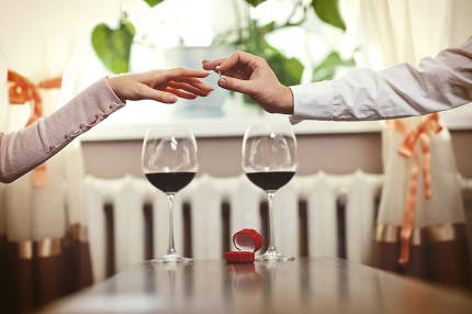 Romantic date. Young couple with wine having romantic date in ch