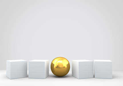 row of cuboid and a golden ball 3d render