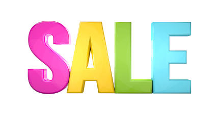 sale colorful 3d render isolated white