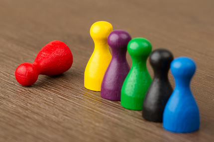 Six colored pawns isolated