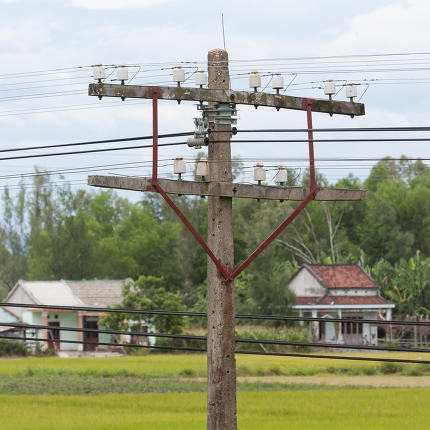 small electrical tower in the poor parts of Vietnam