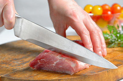 Stainless butcher knife cut meat