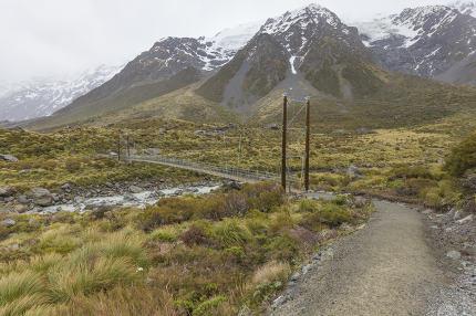 Suspension bridge in Mt. Cook National Park, New Zealand