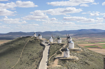Tourism, Town of Consuegra in the province of Toledo, Spain