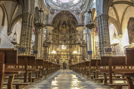 Tourists at Guadalupe Monastery Basilica, Spain