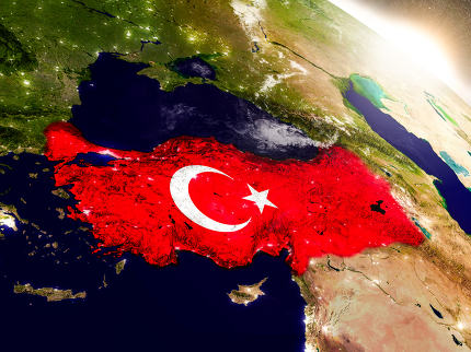 Turkey with flag in rising sun