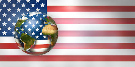 USA flag worldwide global planet 3d render.. Elements of this im