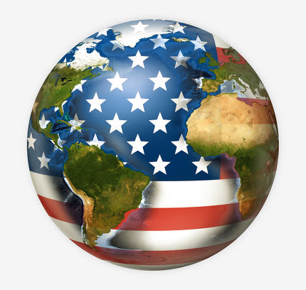 USA flag worldwide global planet 3d render. Elements of this ima