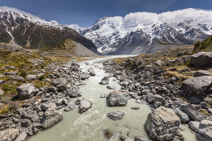 View of Mt Cook National Park, New Zealand.